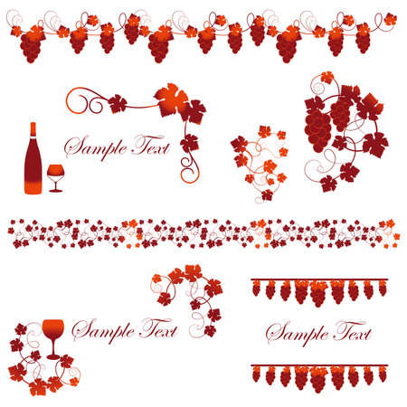 frame set of wine and grapes Vector