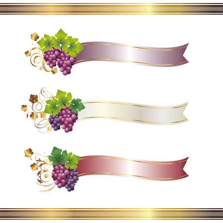 リボンとブドウ  イラスト・ベクター素材
