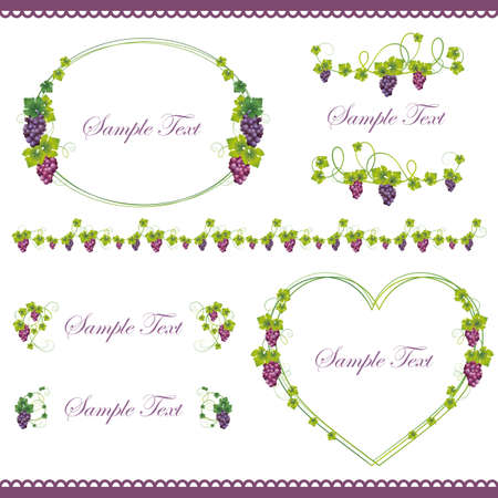 grape frame set Vector