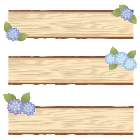 hydrangea wood board Vector