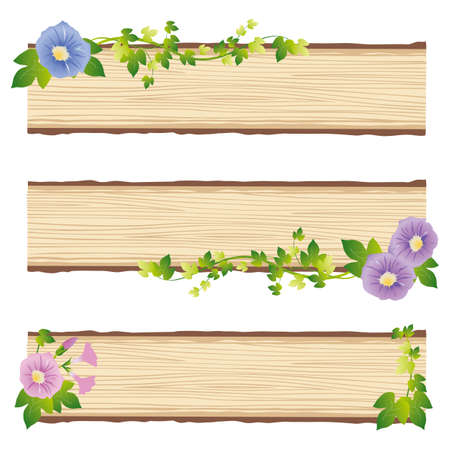 morning glory wood panel Vector