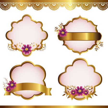 pink ribbon: cosmos with gold frame