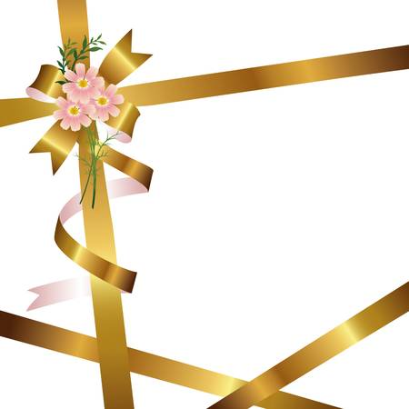ribbon background with cosmos Vector