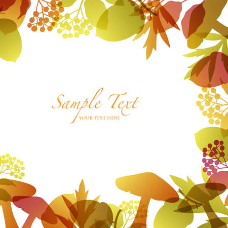 autumn background with seed and mushroom Vector