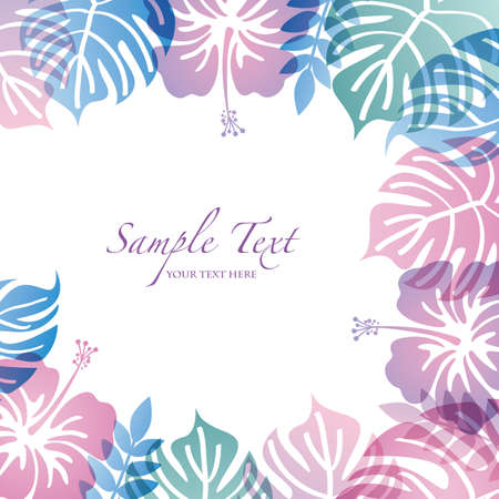 summer background with Monstera and hibiscuses Vector