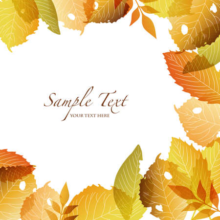 autumn leaf frame: autumn background with fallen leaves Illustration