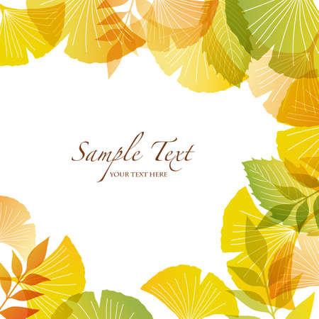 autumn background with ginkgo Vector