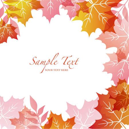 秋の背景とメープル  イラスト・ベクター素材