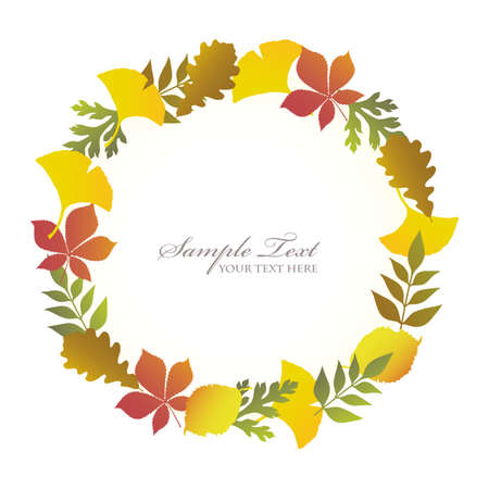 ginkgo and autumn leaves frame Stock Vector - 12481895