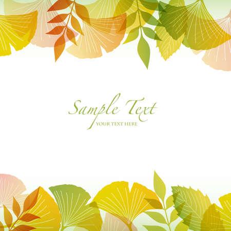 ginkgo: autumn background with ginkgo Illustration