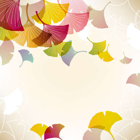 ginkgo leaf: colorful ginkgoes background Illustration