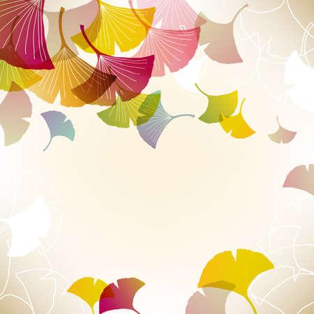 ginkgo: colorful ginkgoes background Illustration