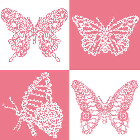 蝶レース  イラスト・ベクター素材