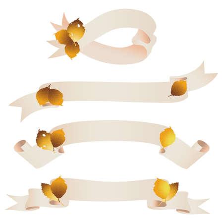 fallen leaves ribbon Stock Vector - 12482873