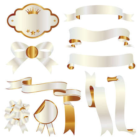 白とゴールドのリボン セット  イラスト・ベクター素材