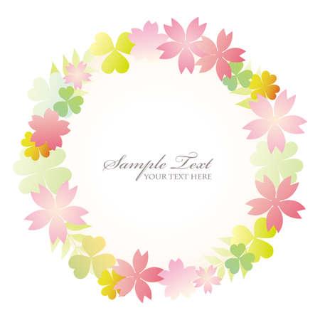 frame flower: cherry blossom and clover frame Illustration