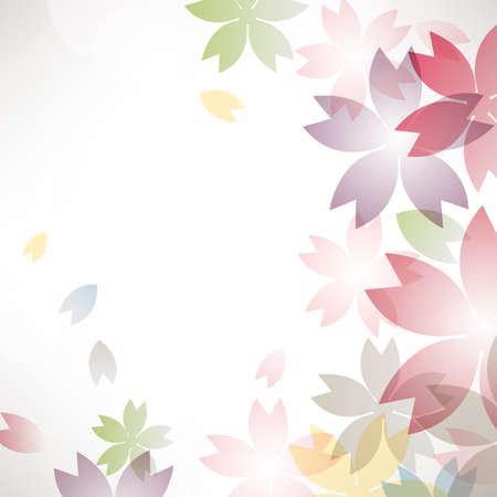 ciliegio in fiore: cherry blossom fiori sfondo colorato Vettoriali