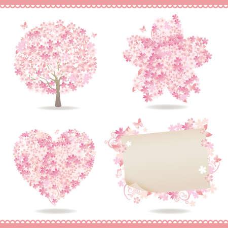 arbol cerezo: conjunto de la primavera con los cerezos en flor