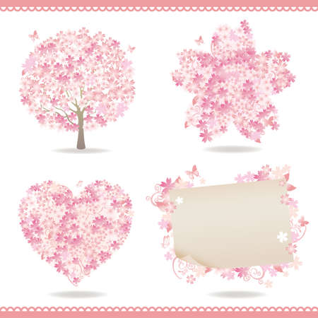set of spring with cherry blossom Vector