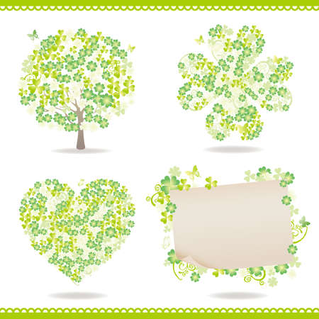 set of spring with clover Vector
