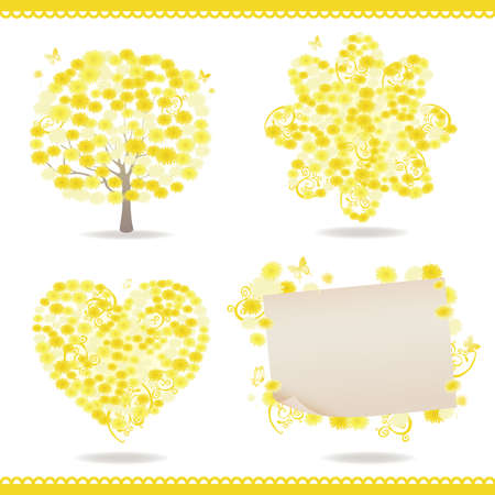 set of spring with dandelion Vector