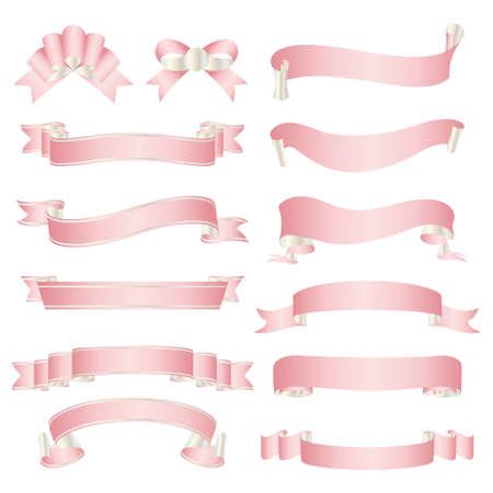 set of pink ribbon  イラスト・ベクター素材