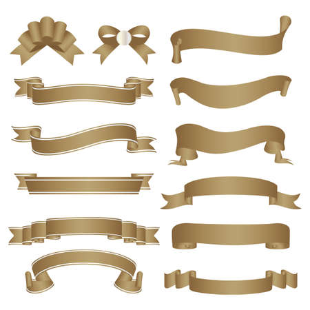 set of old paper ribbon Stock Vector - 12483006