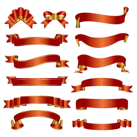 set of red and gold ribbon  イラスト・ベクター素材