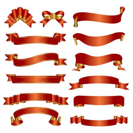 리본: 붉은 색과 금색 리본 세트 일러스트