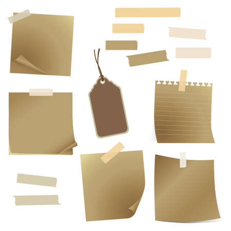 set of old paper and tape Vector