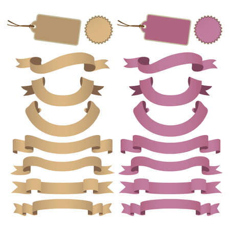set of kraft paper ribbon Vector