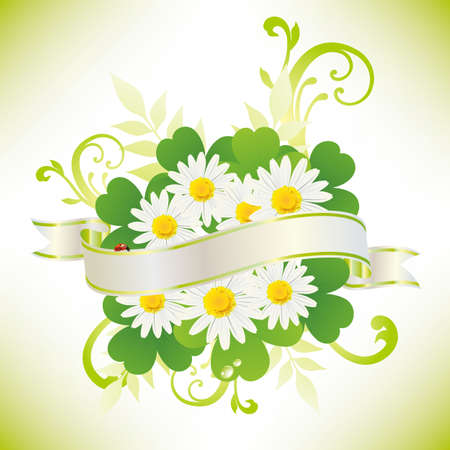 early spring: ribbon with daisy and clover Illustration