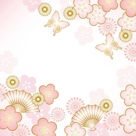 eventail japonais: fond de printemps
