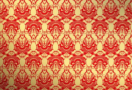 금색과 빨간색 벽지