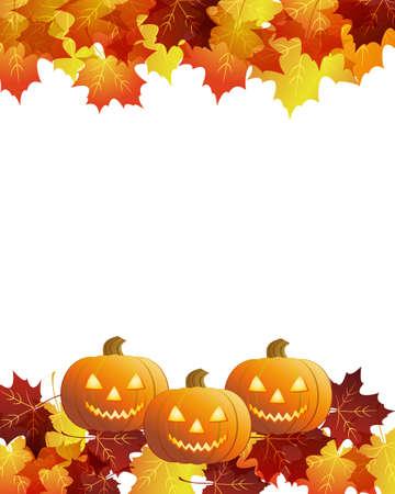 Halloween pumpkins with fall leaves Ilustracja