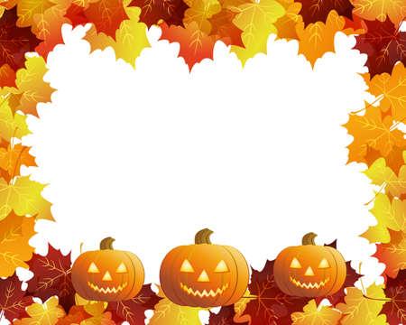 zucche halloween: Zucche di Halloween con foglie di autunno Vettoriali
