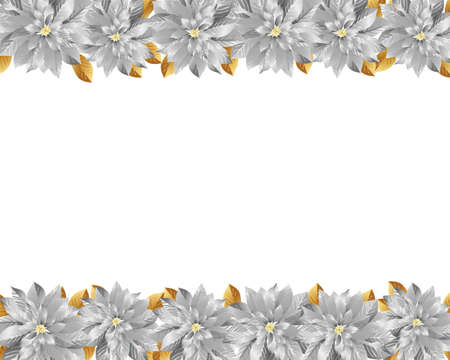 silver poinsettia background Vector