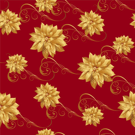 poinsettia seamless pattern Vector