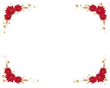 ポインセチアのクリスマス フレーム  イラスト・ベクター素材