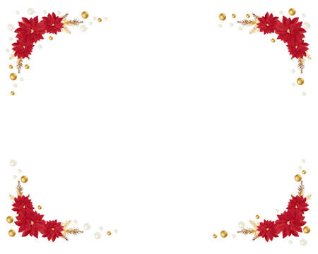 winter flower: poinsettia christmas frame
