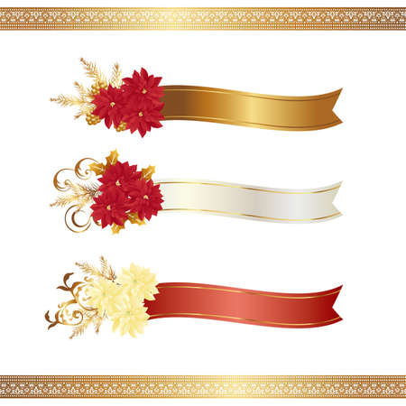 advertisement: poinsettia with ribbon