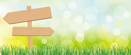 看板と緑の背景  イラスト・ベクター素材