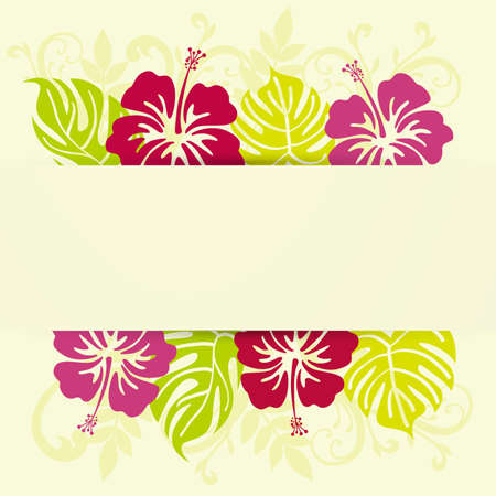 monstera and hibiscuses background frame Stock Vector - 13622342