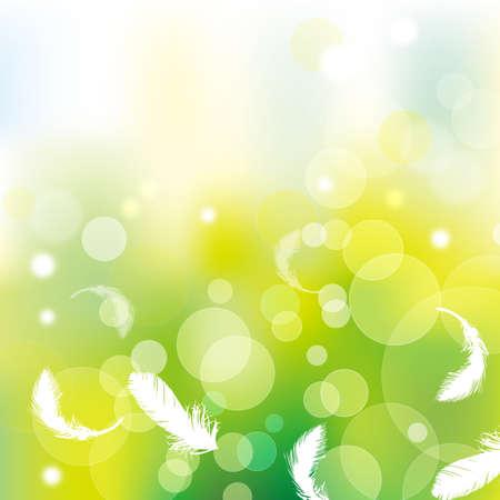 羽と緑の背景