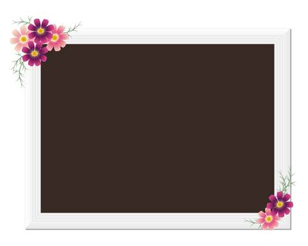 wedding photo frame: picture frame with cosmoses Illustration