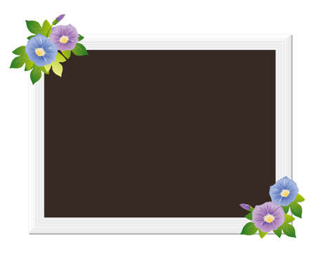 picture frame with morning glory Vector