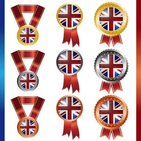 united kingdom union jack  medal set Vector