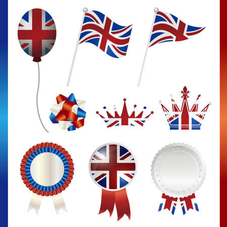 british flag: united kingdom union jack set