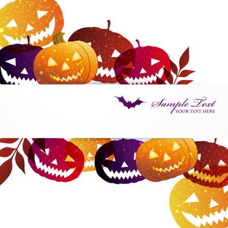 zucche halloween: Zucche di Halloween sfondo Vettoriali
