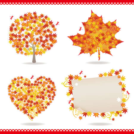 late autumn: set of maple Illustration